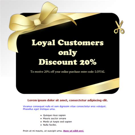 customer discount card template discount card free html e mail templates