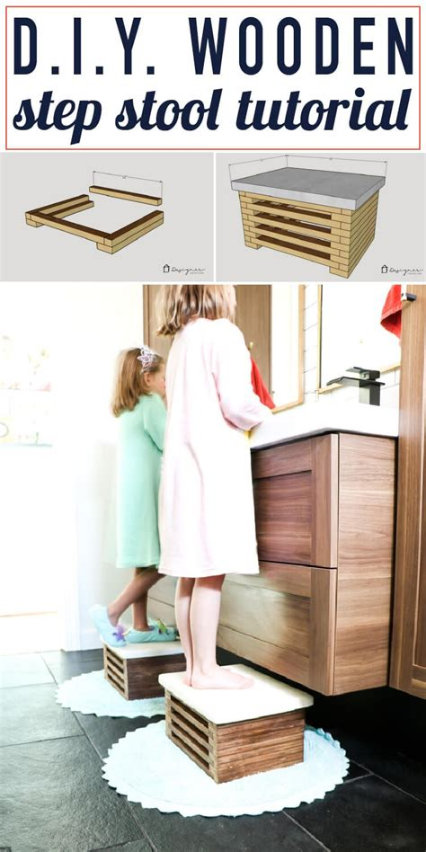 Diy Step Stool by Diy Wooden Step Stool With White Concrete Top