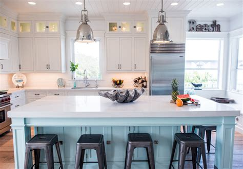 coastal white kitchen  turquoise island home bunch