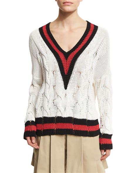 knit varsity sweater pattern rag bone emma varsity stripe cable knit sweater white