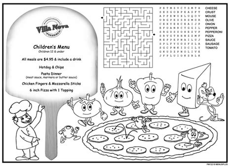menu template for pages children s menus kid s coloring menus for restaurants