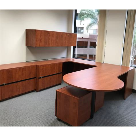 P Desk by Steelcase Payback Used Left Return P Top Desk Cherry