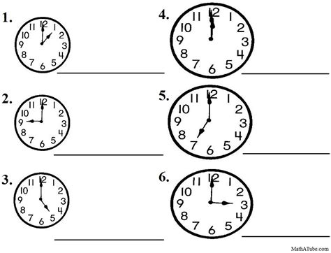 printable clocks to the hour free telling time worksheets missing hands time clock