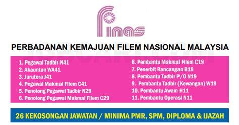 perbadanan film nasional malaysia jawatan kosong terkini di finas pelbagai kelayakan