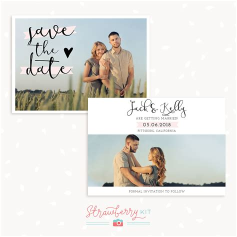 Save The Date Card Templates For Photographers by Photographers Save The Date Card Template Strawberry Kit