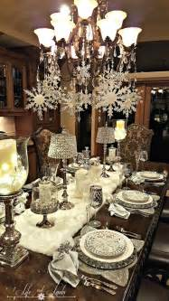 snowflakes and baubles tablescape and