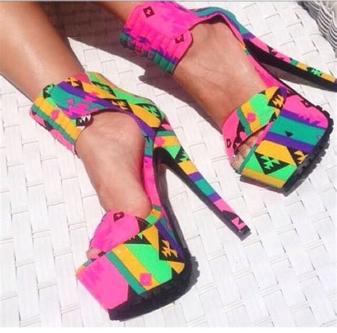 bright patterned heels shoes high heels aztec tribal pattern pink bright