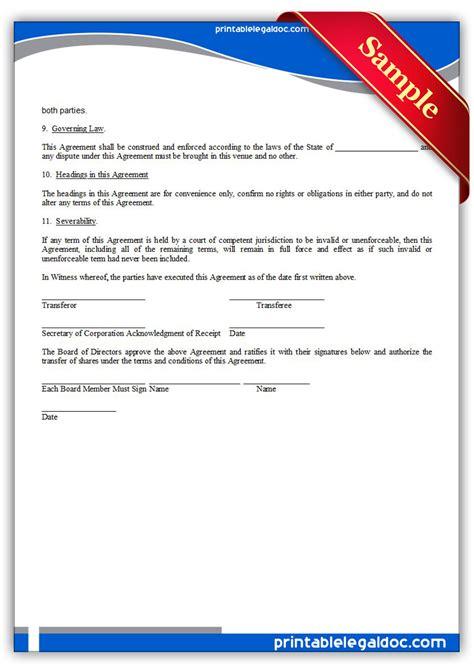 Free Printable Shareholder Newassumption Agreement Form Generic Miller Trust Template