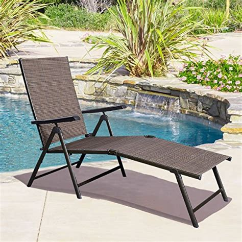 textilene patio furniture giantex adjustable pool chaise lounge chair recliner outdoor patio furniture textilene