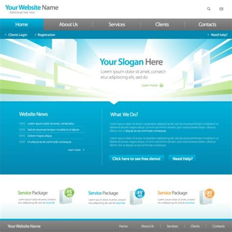site template 4 free vector website templates