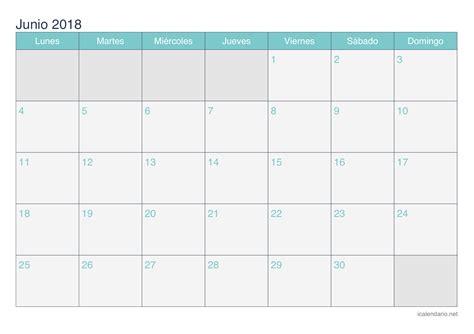 Calendario Junio 2018 Calendario Junio 2018 Para Imprimir Icalendario Net