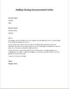Letter Closing Happy Holidays Memo Office Closed For Pdf Weekend Hd