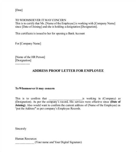 letter bank manager address proof sle hr letter for address proof