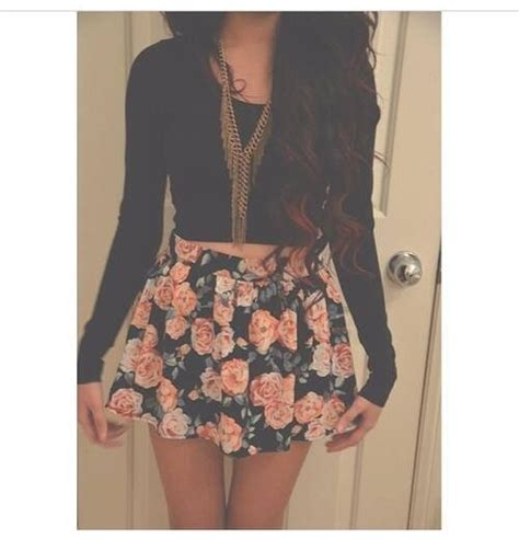 cute floral skirt outfits for teens floral print via tumblr image 1779062 by taraa on