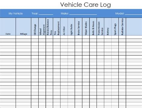 car service record template vehicle maintenance and service log pdf template