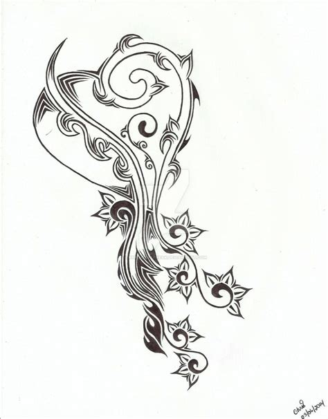 hearts and flowers tattoo designs tribal and flower design by chrismetalfreak