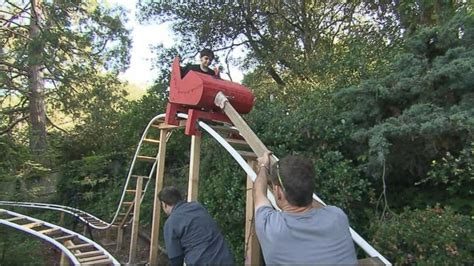 kids backyard roller coaster dad builds roller coaster in backyard video abc news