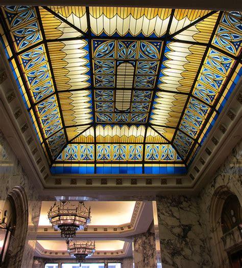 stained glass ceiling stained glass ceiling and chandeliers tulsa office building flickr photo