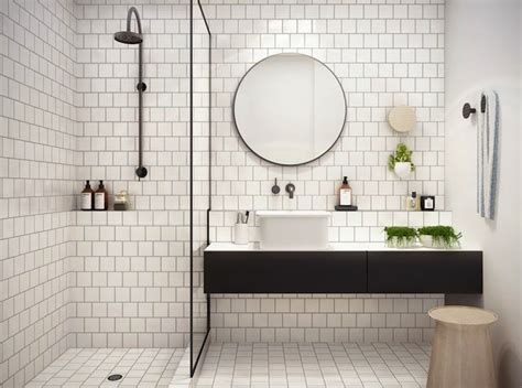 White Bathroom Tiles With Black Grout by White Square Tiles With Black Grout Bathrooms