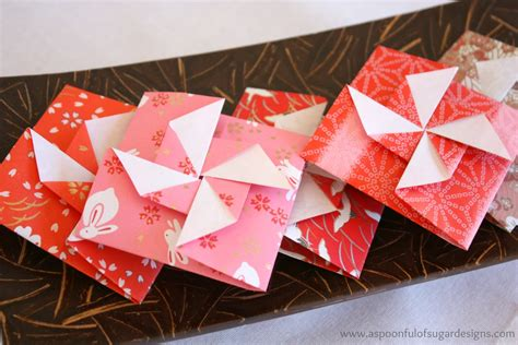 New Year Paper Folding - origami pinwheel envelopes a spoonful of sugar