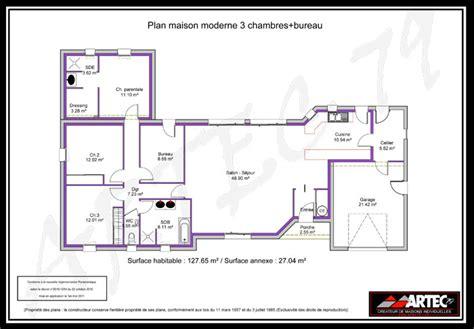 plan de maison 100m2 3 chambres plans de maisons constructeur deux s 232 vres