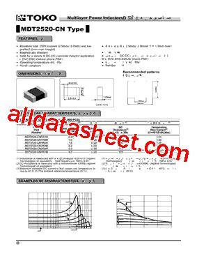toko inductor datasheet mdt2520 cn1r0m datasheet pdf toko inc