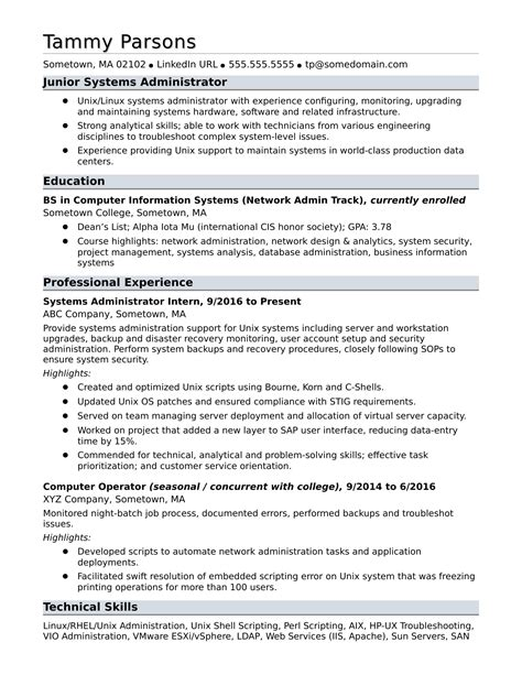 experience resume format for linux system administrator sle resume for an entry level systems administrator