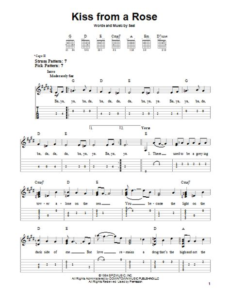 love theme from kiss bass tab kiss from a rose sheet music by seal easy guitar tab