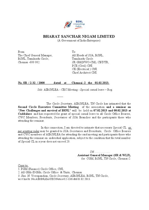 Letter Cancellation Bsnl Connection News Aibsnlea Civil Dn Web Site
