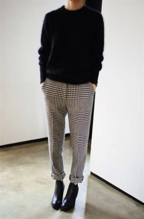 Pants: checked trousers, tartan, check, monochrome