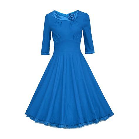 Dress Vintage Size 3 1950s vintage 3 4 sleeve ruched waist blue pin up dresses plus size rockabilly big swing