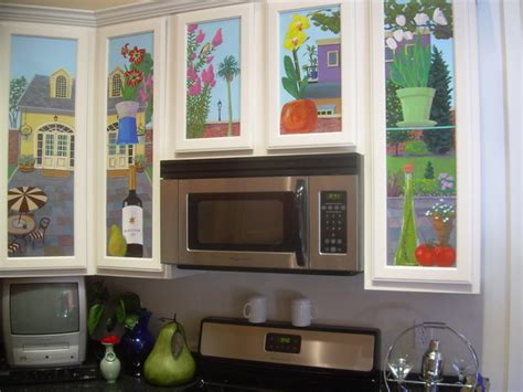 kitchen cabinet mural traditional kitchen  orleans  mondo murals design