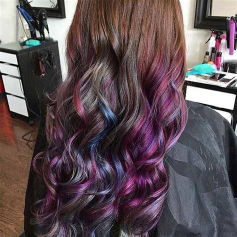 long hairstyles purple highlights purple and blue streaks in brown hair www pixshark com