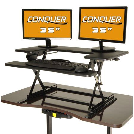 conquer height adjustable standing desk monitor riser 35