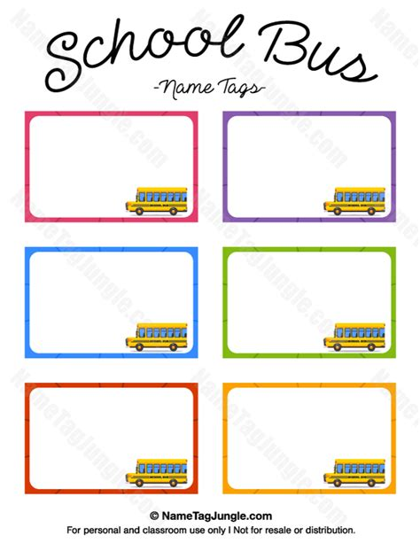 printable bus tags kindergarten free printable school bus name tags the template can also