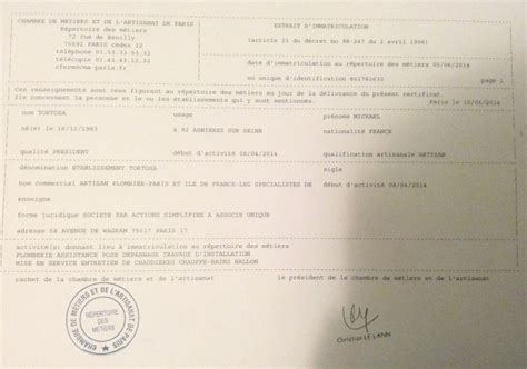 attestation chambre des m騁iers attestations etablissement tortosa 01 85 10 05 55