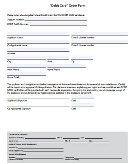 credit debit form 12 sle debit order forms sle templates