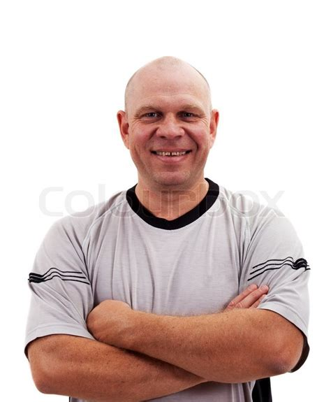 mohawks on middle aged men portrait of middle aged man isolated on white background