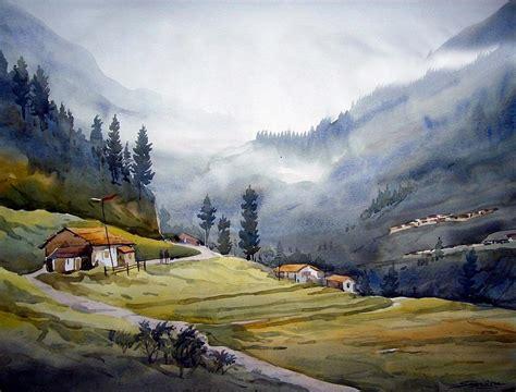 landscape of himalayan mountain painting by samiran sarkar