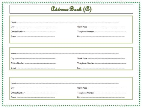 uncategorized 15 free printable address book template free