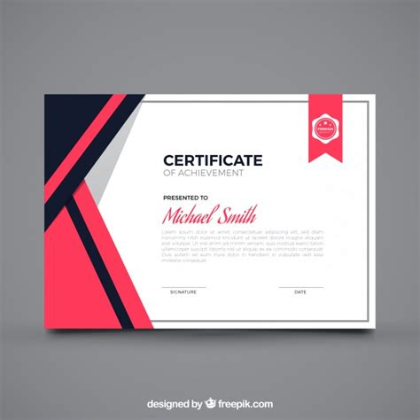 graphic design graduate certificate online flat certificate of achievement vector free download