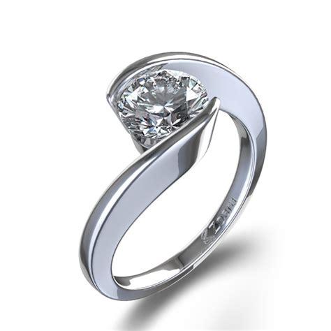 daimond ring swirl bezel set ring in 14k white gold