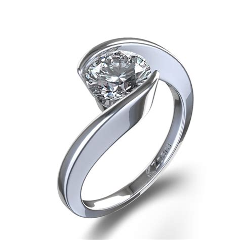 Swirl bezel set diamond ring in 14k white gold