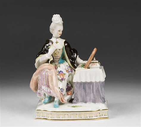 meissen porcelain figurine of at dressing table from
