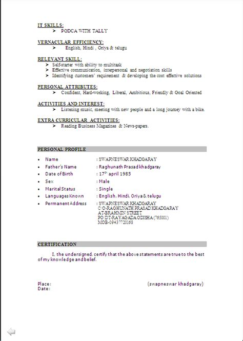 Resume Format For Mba Marketing Fresher Pdf Resume Sle In Word Document Mba Marketing Sales Fresher Resume Formats