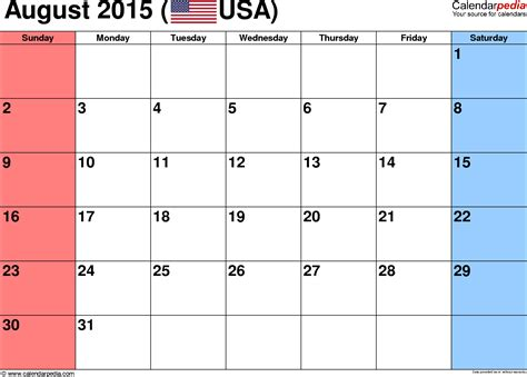 August Printable Calendar 2015 August 2015 Calendars For Word Excel Pdf