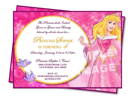 aurora invitation sleeping beauty invitation disney