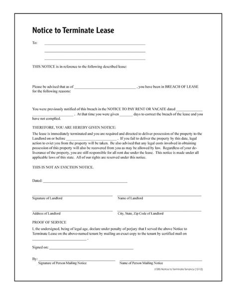 End Of Lease Letter To Tenant by Notice To Terminate Tenancy Forms And