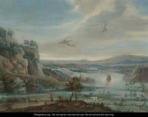 Landscape Of The Fall Of Icarus An Extensive River Landscape With The Fall Of Icarus