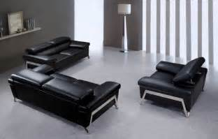 encore modern black leather sofa set
